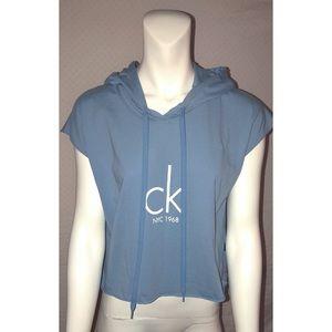 RARE Calvin Klein Logo Cropped Hoodie Tee